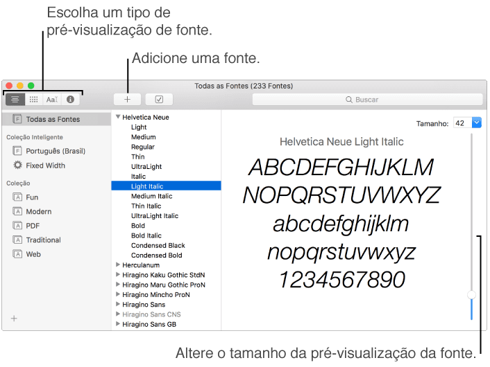 The Font Book window, with buttons in the top left for choosing the type of font preview, the Add button in the toolbar for adding a font, and a vertical slider at the far right for changing the preview size
